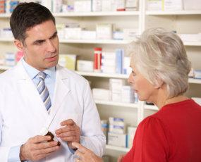 senior woman and a pharmacist