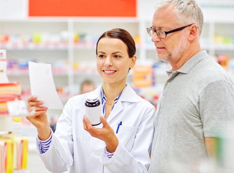 pharmacist and senior man